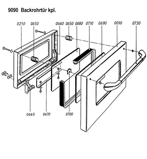 Backrohrtür komplett für ZEH 90, ZEH 110 und LHS 105 von Lohberger