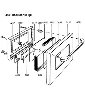 Backrohrtür komplett für ZEH 90, ZEH 110 und...
