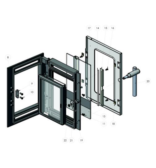 Heiztürglas außen bedruck für Lohberger LC 70, LC 75 A und LM 40