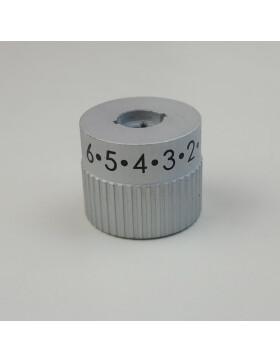 Regelknopf, Reglerknebel Primärluft 0 - 6  in Silber für LHS .4 N Herde und AC 105